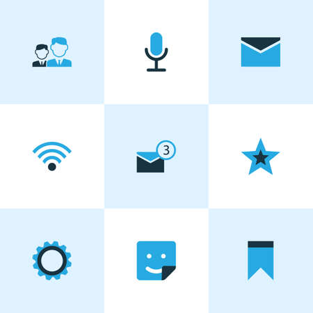 Internet icons colored set with mates, video chat, gear and other notification elements. Isolated vector illustration internet icons. Vetores