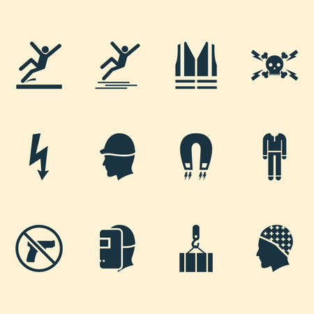 Sign icons set with slippery area, icy surface, overhead crane and other surface  elements. Isolated vector illustration sign icons.