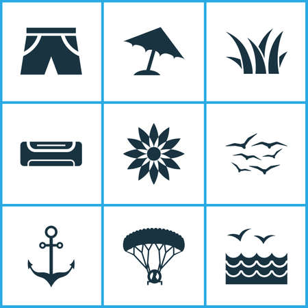 Sun icons set with sea, umbrella, anchor and other seagull   elements. Isolated vector illustration sun icons.