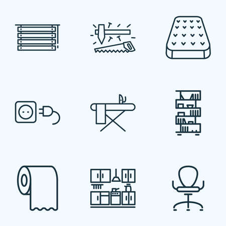 House icons line style set with mattress, toilet paper, kitchen set and other bed
