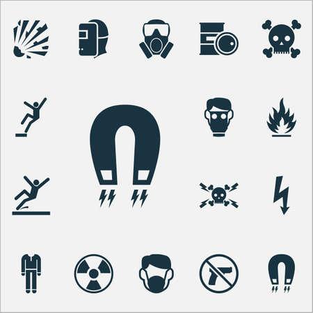 Signez des icônes avec des éléments radioactifs, respiratoires, interdits et autres. Icônes de signe d'illustration vectorielle isolée.