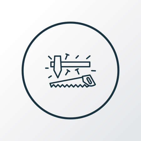 Carpenter tools icon line symbol. Premium quality isolated carpentry element in trendy style.