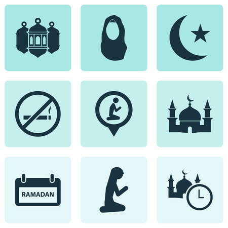 Holiday icons set with worship, muslim female, do not smoke and other kerchief