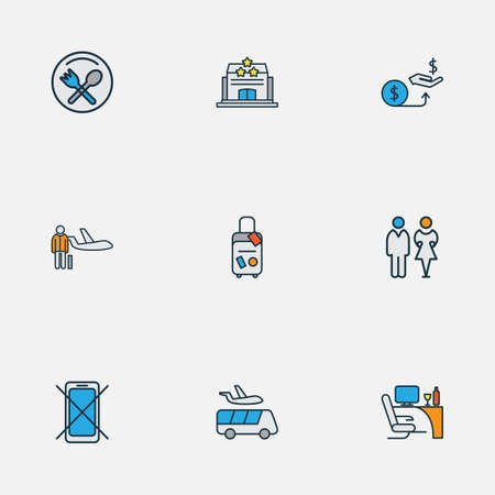 Airport icons colored line set with airport shuttle, personal plane, toilets and other transportation  elements. Isolated vector illustration airport icons.