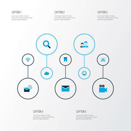 Internet icons colored set with emoji, magnifier, wireless connection and other wifi