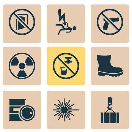 Protection icons set with radioactive, keep door closed, non potable water and other radiation  elements. Isolated  illustration protection icons.