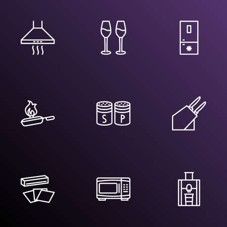 Culinary icons line style set with kitchen hood, cooking, microwave and other knives set