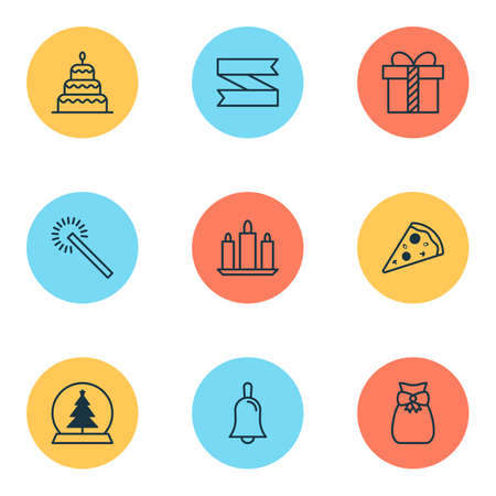 New icons set with pizza slice, glass toy, present and other wax   elements. Isolated  illustration new icons.