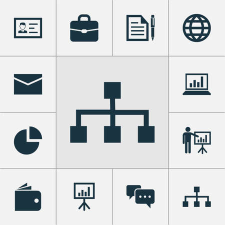 Trade icons set with whiteboard, briefcase, authentication and other billfold