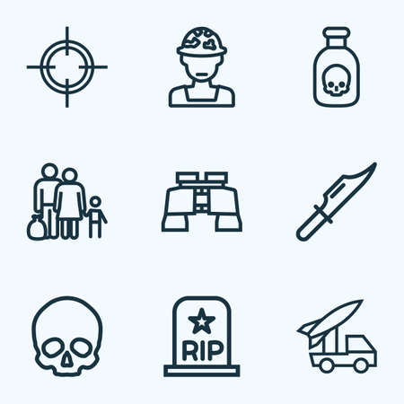 Combat icons line style set with soldier, artillery, refugee and other officer 
