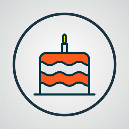 Cake icon colored line symbol. Premium quality isolated birthday dessert element in trendy style.