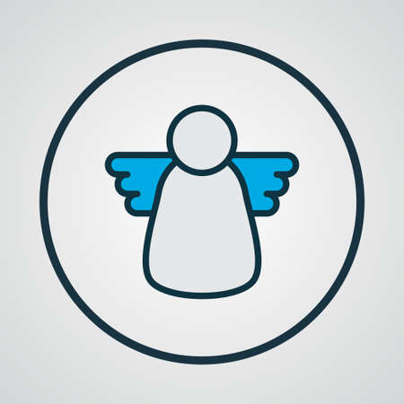 Christmas angel icon colored line symbol. Premium quality isolated halo element in trendy style. Illustration