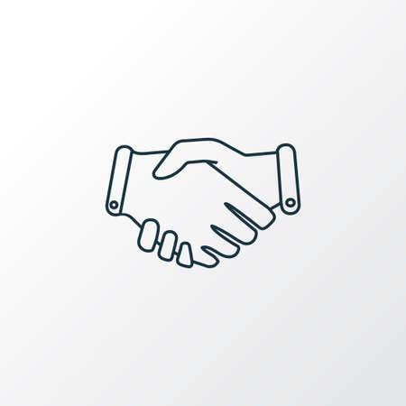 Handshake icon line symbol. Premium quality isolated partnership element in trendy style.