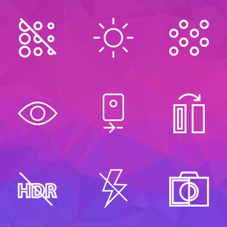 Photo icons line style set with turn, eyesight, lightning and other remove red eye  elements. Isolated vector illustration photo icons.