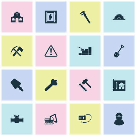 Construction icons set with house drawing, welding, calipers and other stopcock  elements. Isolated vector illustration construction icons. Illustration