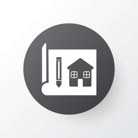 House drawing icon symbol. Premium quality isolated blueprint element in trendy style.