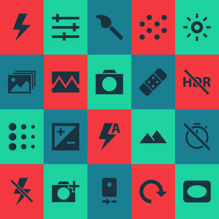 Photo icons set with lightning, broken image, chronometer and other camera rear