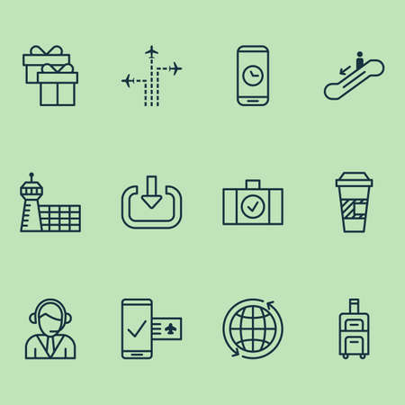 Traveling icons set with coffee cup, login, aerodrome and other flight path elements. Isolated  illustration traveling icons. Фото со стока