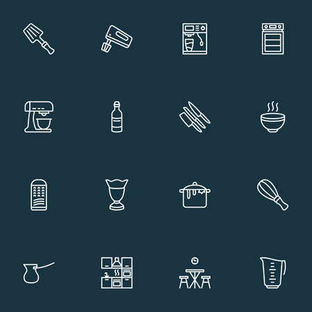 Cook icons line style set with kitchen furniture, whisk, coffee machine and other meal elements. Isolated illustration cook icons. Фото со стока