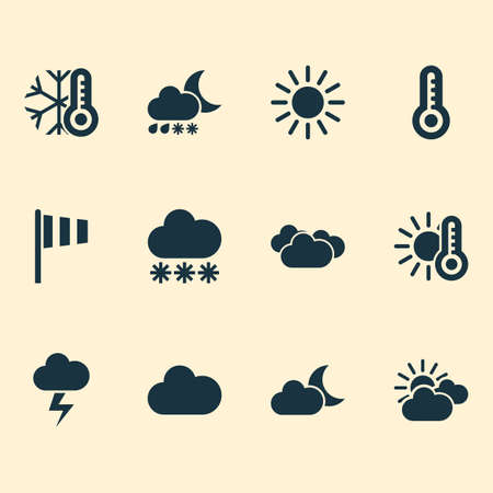 Climate icons set with sunny, snow, temperature and other sun  elements. Isolated vector illustration climate icons.