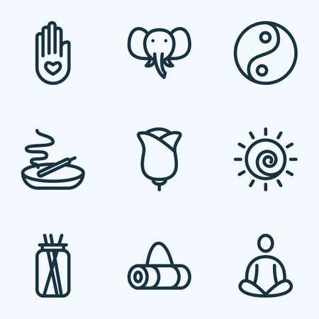 Meditation icons line style set with candles, elephant, peace hand palm   elements. Isolated vector illustration meditation icons.