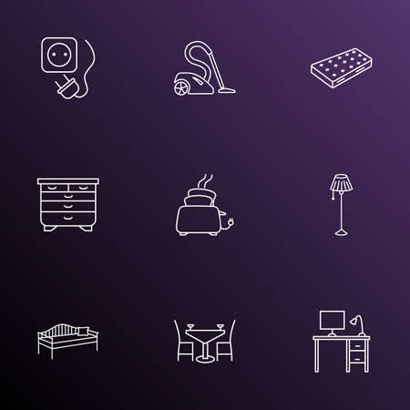 Interior icons line style set with desk, floor lamp, mattress and other appliance