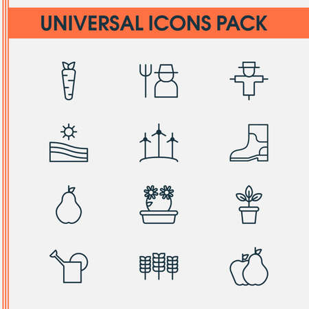 Gardening icons set with peony, plant pot, farm field and other windmill elements. Isolated vector illustration gardening icons.