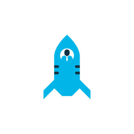 Rocket icon symbol in blue. Premium quality isolated shuttle element in trendy style.