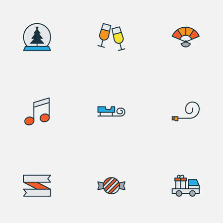 New icons colored line set with party blower, car with gift, music note and other stemware