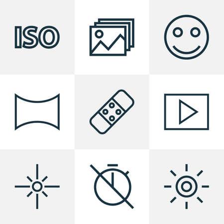 Conjunto de estilo de línea de iconos de imagen sin temporizador, wb iridiscente, emoticono de sonrisa y otros elementos iso. Iconos de imagen de ilustración aislada.