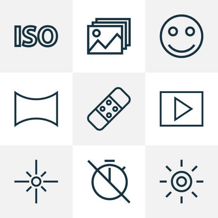 Picture icons line style set with no timer, wb iridescent, smile emoticon and other iso elements. Isolated illustration picture icons.
