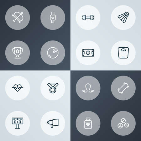 Game icons line style set with award, score display, heartbeat and other kegling elements. Isolated vector illustration game icons.