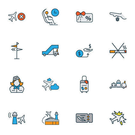 Airport icons colored line set with no smoking, gangway, plane in the cloud and other gift card  elements. Isolated vector illustration airport icons.