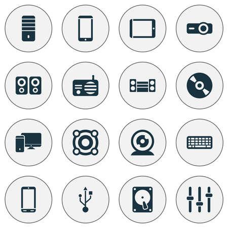 Iconos de electrónica con teclado, teléfono inteligente, PC y otros elementos del procesador. Iconos aislados de la electrónica de la ilustración del vector. Ilustración de vector