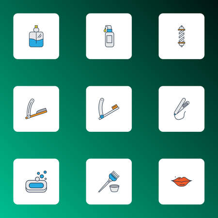Colored barber icons set with razor blade, soap, styling iron and other straightener elements. Isolated  illustration barber icons. 版權商用圖片