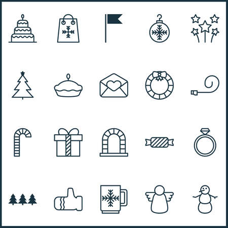 Year icons set with present, pennant, tart and other mitten