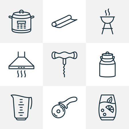 Gastronomy icons line style set with milk can, corkscrew, lemonade and other pressure cooker