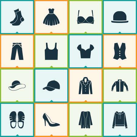 Dress icons set with sandal, fashionable, sweatshirt elegant headgear   elements. Isolated vector illustration dress icons.  イラスト・ベクター素材