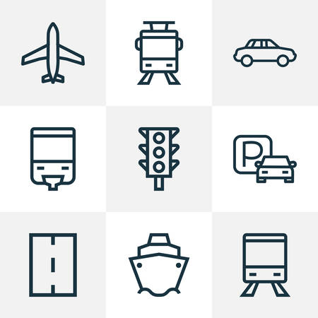 Transport icons line style set with stoplight, parking, monorail and other aircraft