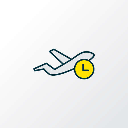 Flight time icon colored line symbol. Premium quality isolated flying element in trendy style.