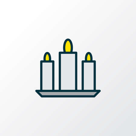 Candle icon colored line symbol. Premium quality isolated paraffin element in trendy style.