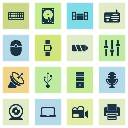 Technology icons set with smart watch, keyboard, printer and other mic elements. Isolated vector illustration technology icons.