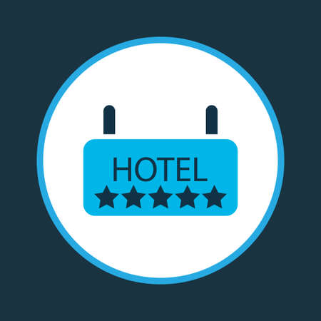 Hotel icon colored symbol. Premium quality isolated signboard element in trendy style.