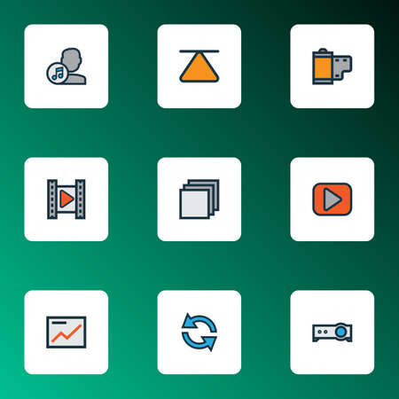 Media icons colored line set with cinema, top, artist and other synchronize elements. Isolated  illustration media icons.