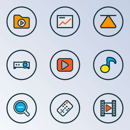 Multimedia icons colored line set with cinema, projector, dossier and other controller elements. Isolated illustration multimedia icons. 版權商用圖片