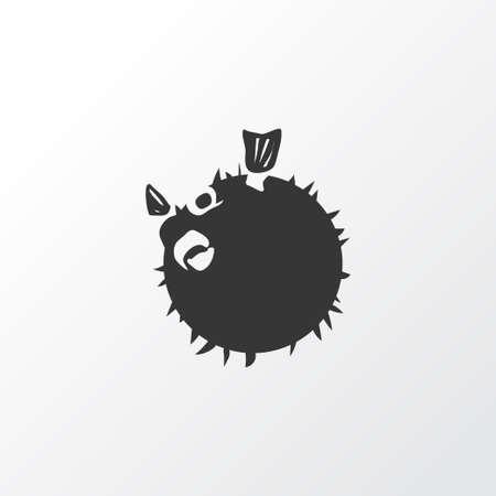 Blowfish icon symbol. Premium quality isolated globefish element in trendy style. Çizim