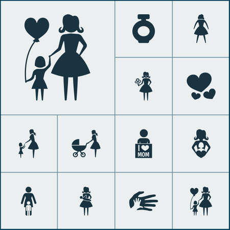Mothers day icon design concept. Set of 12 such elements as daughter, placard and protect. Beautiful symbols for mother, baby and heart.