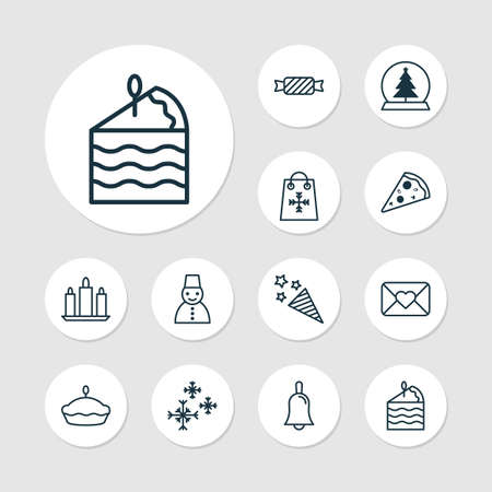 Happy icons set with candles, close envelope, candy wax  elements. Isolated vector illustration happy icons. Standard-Bild - 126061573