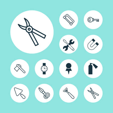Instrument icons set with door key, magnet, scissors and other attraction elements. Isolated vector illustration instrument icons.