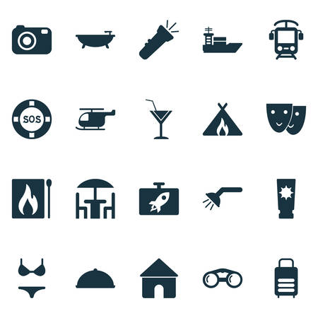 Tourism icons set with suitcase, electric train, cocktail and other matchbox  elements. Isolated vector illustration tourism icons.